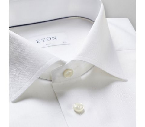 White Herringbone Cotton-Tencel Shirt Shirt