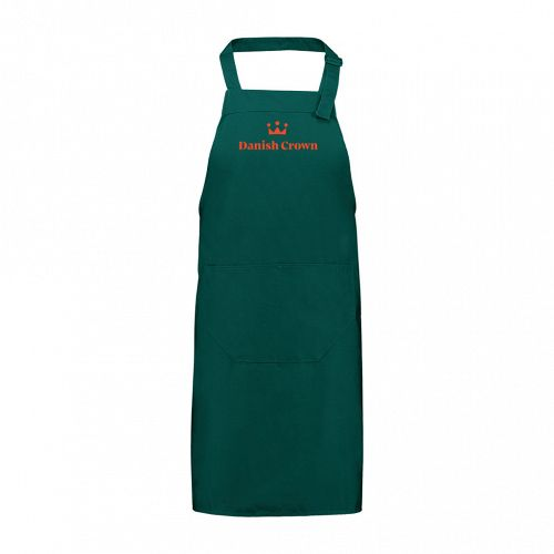 Chef's apron, green, size: 75 x 100 cm, incl. red Danish Crown embroidery at front