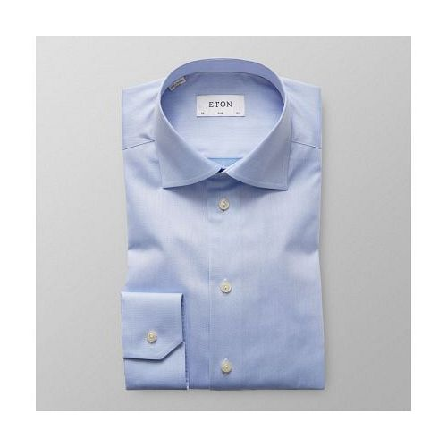 Blue Twill Shirt - Floral Embroidery