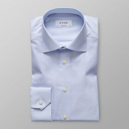Sky Blue Check Cotton-Tencel Shirt