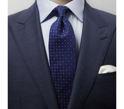 Navy & Orange Micro Weave Tie
